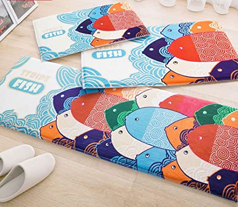 KEPSWET 3-piece Cartoon Fish Pattern Rugs Bedroom Rug Runner Living Room Carpets Bedside Rugs Sofa Coffee Table Carpets Non-Slip Carpets Door Mats ...