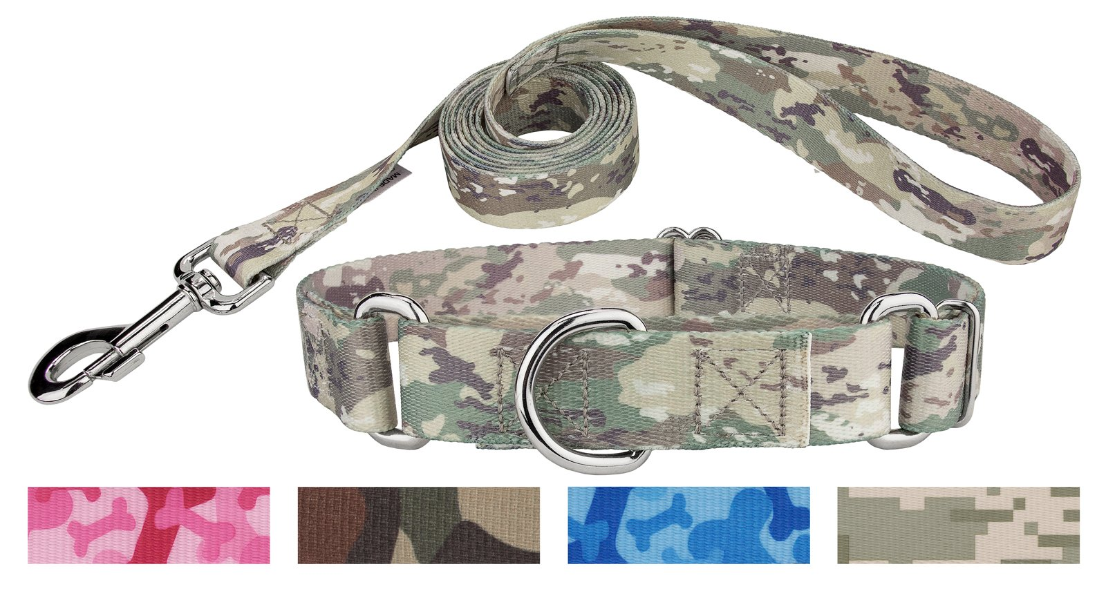 Country Brook Design Mountain Viper Camo Martingale Dog Collar & Leash - Medium