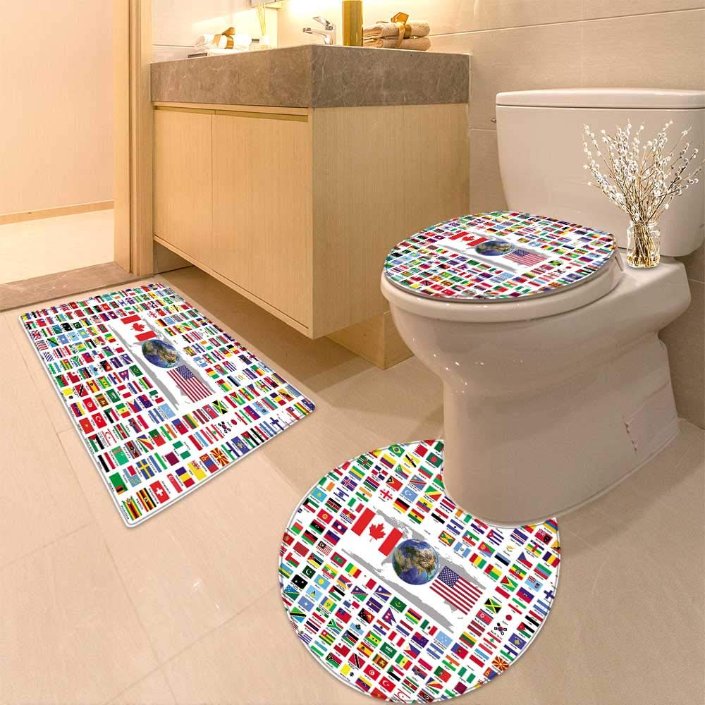 HuaWuhome 3 Piece Toilet Cover Set Official Country Flags Pattern