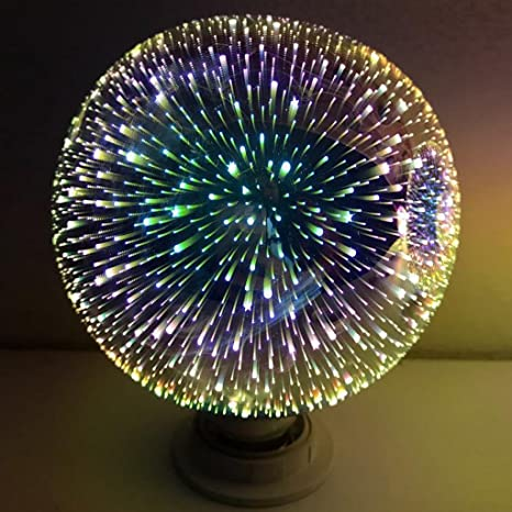 LIYUDL Multicolor LED light Bulb, E27 G80 Colourful 3D Fireworks Ball Lights Star Shine Decoration Multiple Reflection Alluminum Plated Glass - - Amazon.com