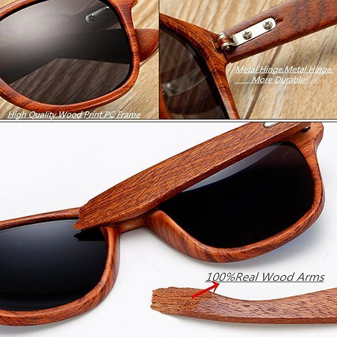Amazon.com: LongKeeper - Gafas de sol de madera para hombre ...