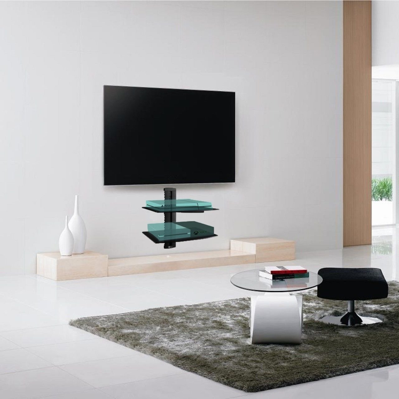 box bluray shelf floating with tv pin wall dvd mount installation glass led for cable and