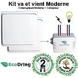 EcoDring ✮ Kit va et vient Moderne : 2 Interrupteurs sans fil sans pile + 1 récepteur 1000W ✮ garantie 2 ans ✮ blanc RX2TX