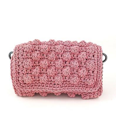 Women Handmade Crochet Shoulder Bag Boho Crossbody Bag Flap Bag With