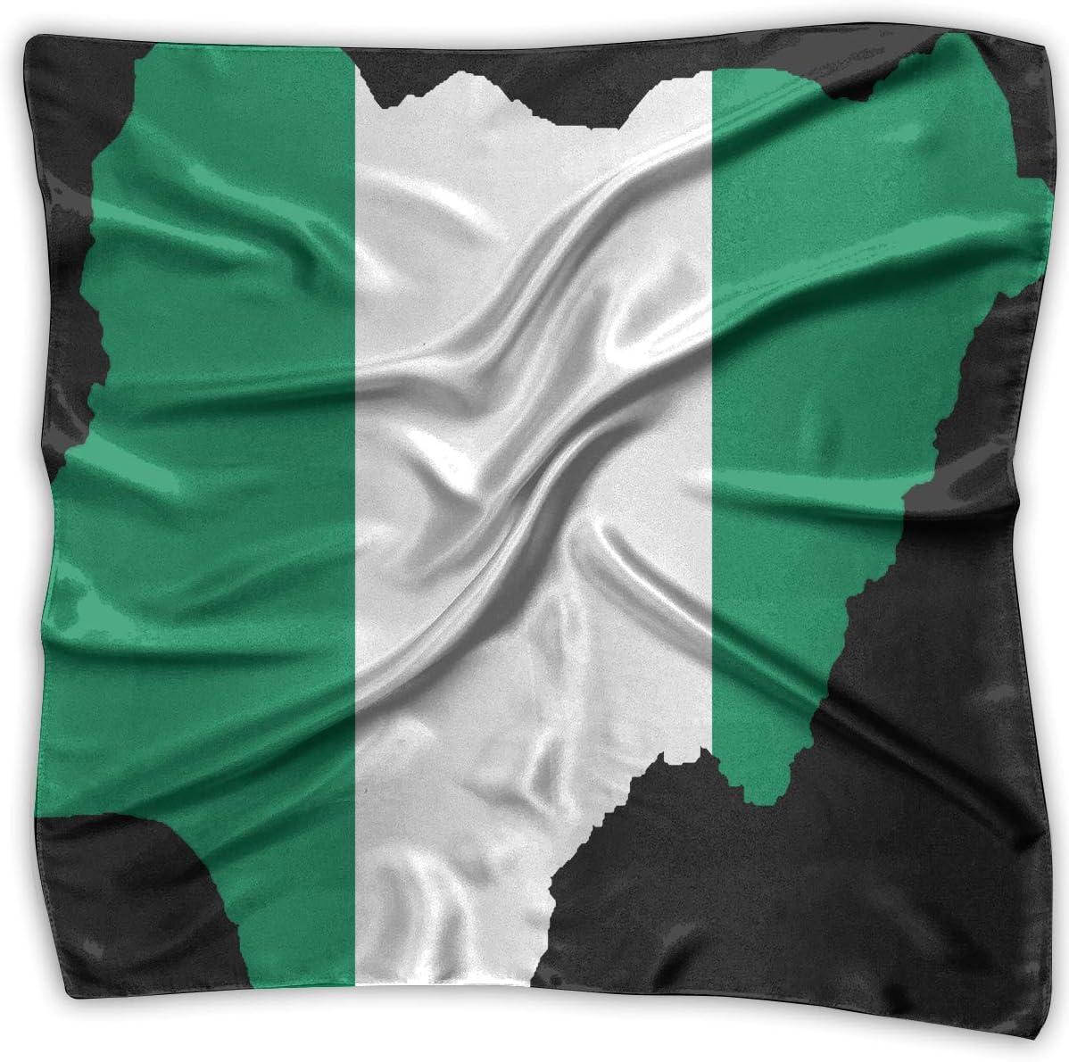 WFIRE Pañuelo Cuadrado 2018 con diseño de Bandera de Nigeria y Mapa, Bufanda, Chal, pañuelos, pañuelo, pañuelo para el Pelo: Amazon.es: Deportes y aire libre