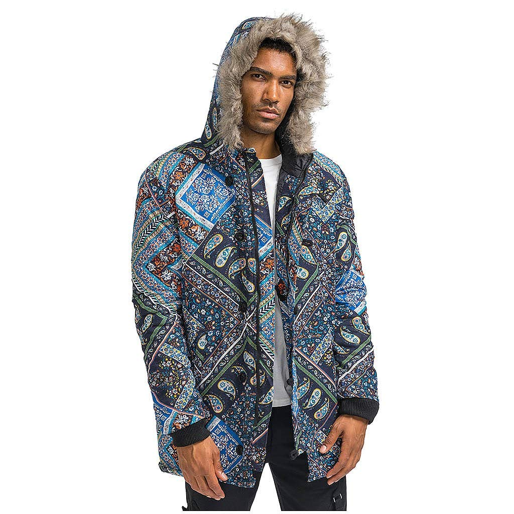 wuliLINL Mens Floral Print Hooded Warm Winter Thicken Cotton-Padded Parkas Long Oversize Coats(Navy-B,L) by wuliLINL