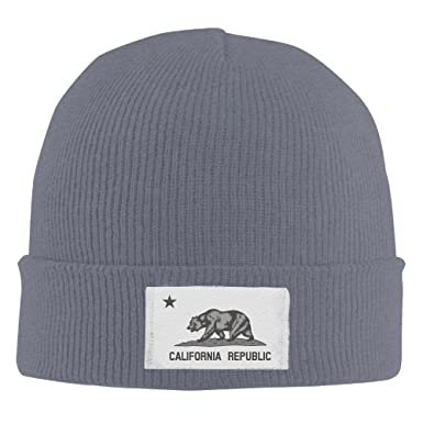 1fe2ff0c4 Cool Beanie California Republic State Vintage Grey Bear Knitted Beanies at  Amazon Men's Clothing store: