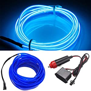 HomDSim 16.4ft/5m Auto Car Neon LED Panel Gap String Strip Light, Glowing Electroluminescent Wire/El Wire Lamp, Cold Strobing for Automotive Interior Car Decor Decorative Atmosphere,6mm Sewing Edge