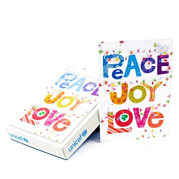 Amazon hallmark unicef christmas boxed cards peace joy love hallmark unicef christmas boxed cards peace joy love lettering 12 christmas greeting cards and m4hsunfo Images
