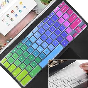 Keyboard Cover Skin for HP 11.6/14 inch Chromebook x360, HP Chromebook 11,14 G2/G3/G4/G5/G6 EE/G7 EE/11A-NB0013DX,Chromebook 14-db/ca/ak/DA 14B-CA 14a-na Series,Keyboard Accessories, Rainbow+Clear