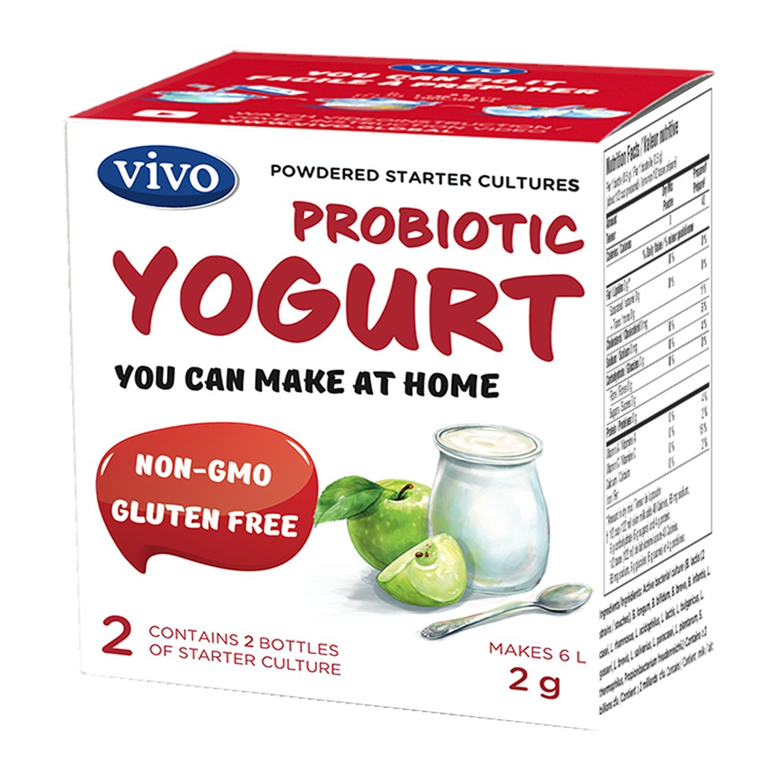 VIVO Probiotic Yogurt Starter Cultures/Natural (5 Boxes. 10 Bottles) Makes up to 30 litres VIVO-Active