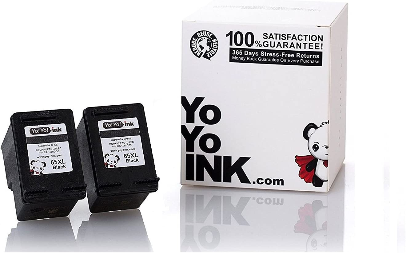 YoYoInk Remanufactured Ink Cartridge Replacement for HP 65 65XL High Yield (2 Black)