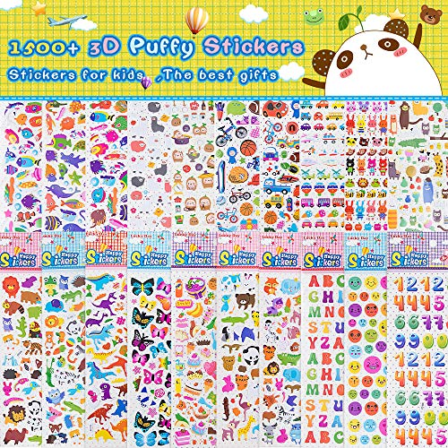 RENOOK Stickers for Kids 1500+ 3D Puffy Puzzle Waterproof Stickers Pack Decals Cute Cartoon Stickers for Teachers,Students, Toddlers,Scrapbooking - The Best Handmade Companion for Girls and Boys.