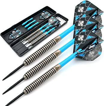 CUESOUL Steel Tip Darts Set 20//22//24 Grams with Deluxe PU Darts case-Black Scorpion Series