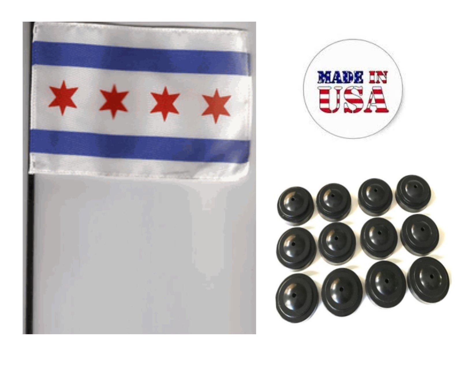 Made in the USA!! Box of 12 City of Chicago 4''x6'' Miniature Desk & Table Flags Includes 12 Flag Stands & 12 Municipal Flag of Chicago Small Mini Stick Flags