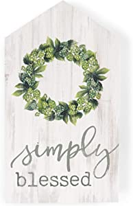 P. Graham Dunn Simply Blessed Green Wreath Whitewash House Shaped 3.5 x 6 Inch Pine Wood Block Tabletop Sign