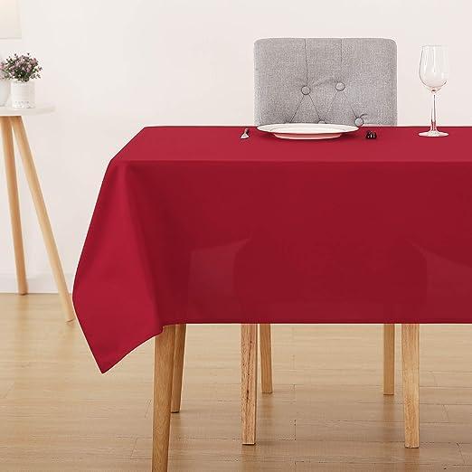 Deconovo Manteles Mesa Rectangular para Comedor 137 x 274 cm Rojo ...