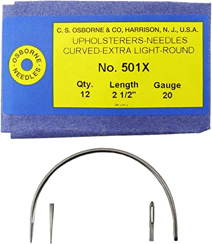 "C.S Osborne Extra Light Gauge Curved Round Point Upholstery Needles 2-4/"" 501X"