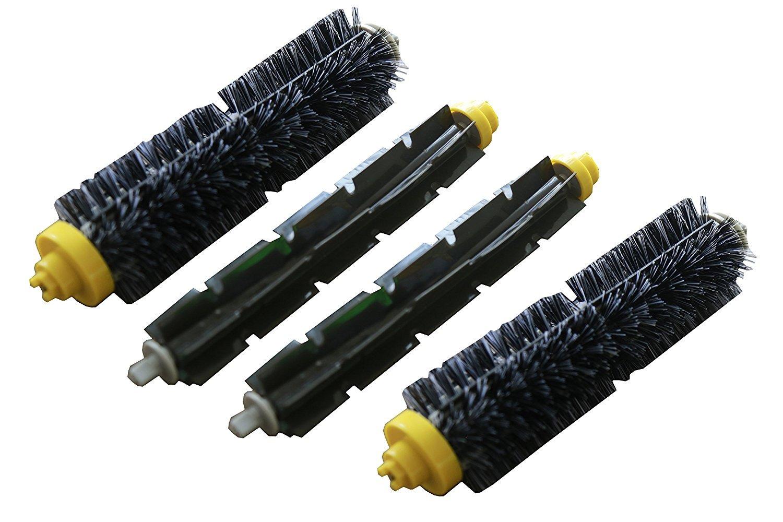 Confezione da 2. Kit di spazzole per iRobot Roomba della serie 600, 700 (tranne i modelli 645 e 655): spazzole di setola e spazzole flessibili Green Label