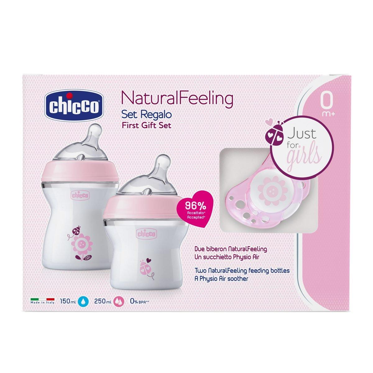 Chicco NaturalFeeling - Set de regalo con 2 biberones para recién nacido + chupete 0 m+, rosa