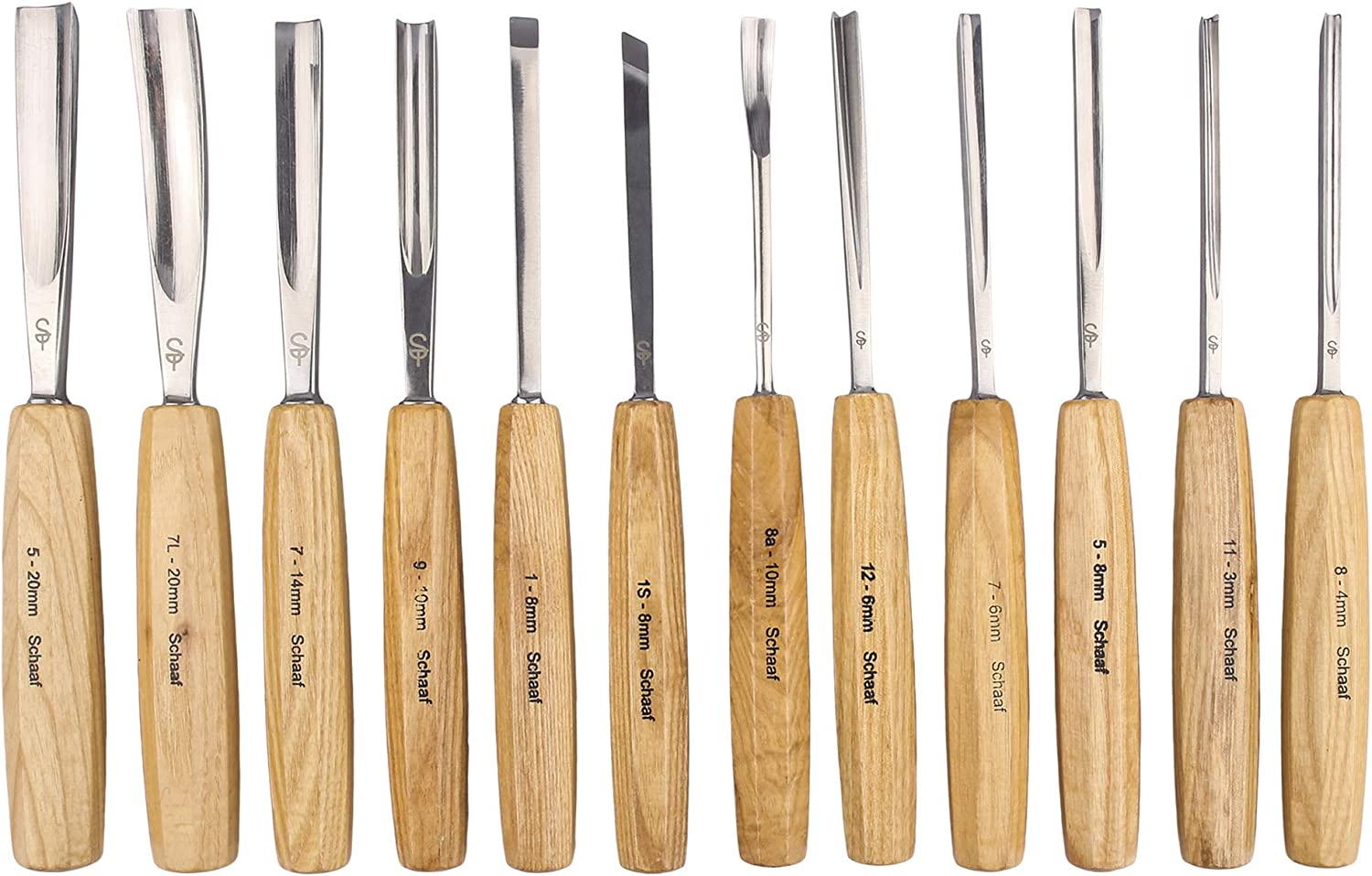 Full Size Wood Carving Tools Set of 12 with Canvas Case Gouges Chisels Beginners