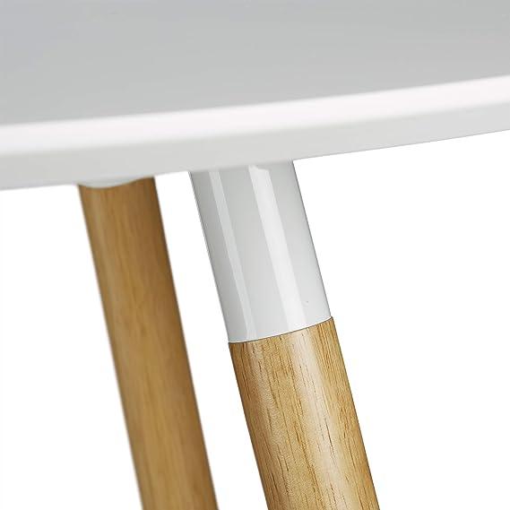 Relaxdays Runder Esstisch ARVID, groß, Holz, HxD: 75 x 120 cm, Beine natur, Gummi Untersetzer, weiß