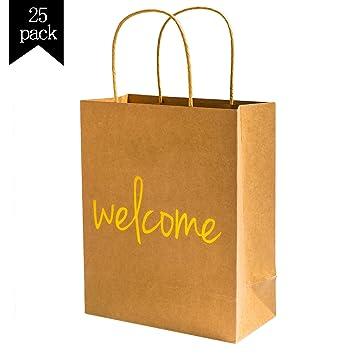 Amazon Crisky Kraft Paper Welcome Gift Bags Set Of 25 Wedding