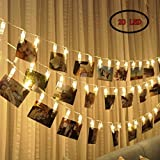 Photo Clip String Lights 20 Photo Clips, Perfect for Hanging Photos, Pictures, Notes, Paintings Card and Memos- 2,2 Meter/7,2 Feet - 3 AA Batteries Powered