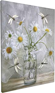 Bathroom Decor Wall Art Dragonfly Daisy flowers Canvas Modern Floral Painting Giclee Matte Prints Home Decor For Bedroom Living Room Bathroom Kitchen 12x16 Inch