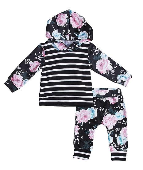 0fb003ec9 Amazon.com  Aliven Newborn Baby Boy Girl Warm Striped Hoodie T-Shirt ...
