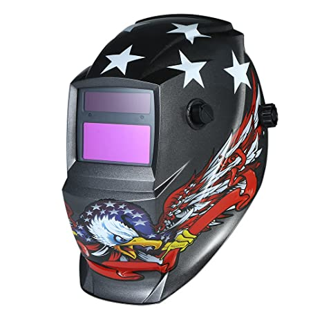KKmoon Casco de soldadura industrial con oscurecimiento automático de energía solar con banda de cabeza ajustable