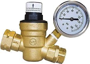 Hourleey Water Pressure Regulator Valve, RV Brass Water Pressure Regulator with Gauge and Inlet Screened Filter for Camper Trailer