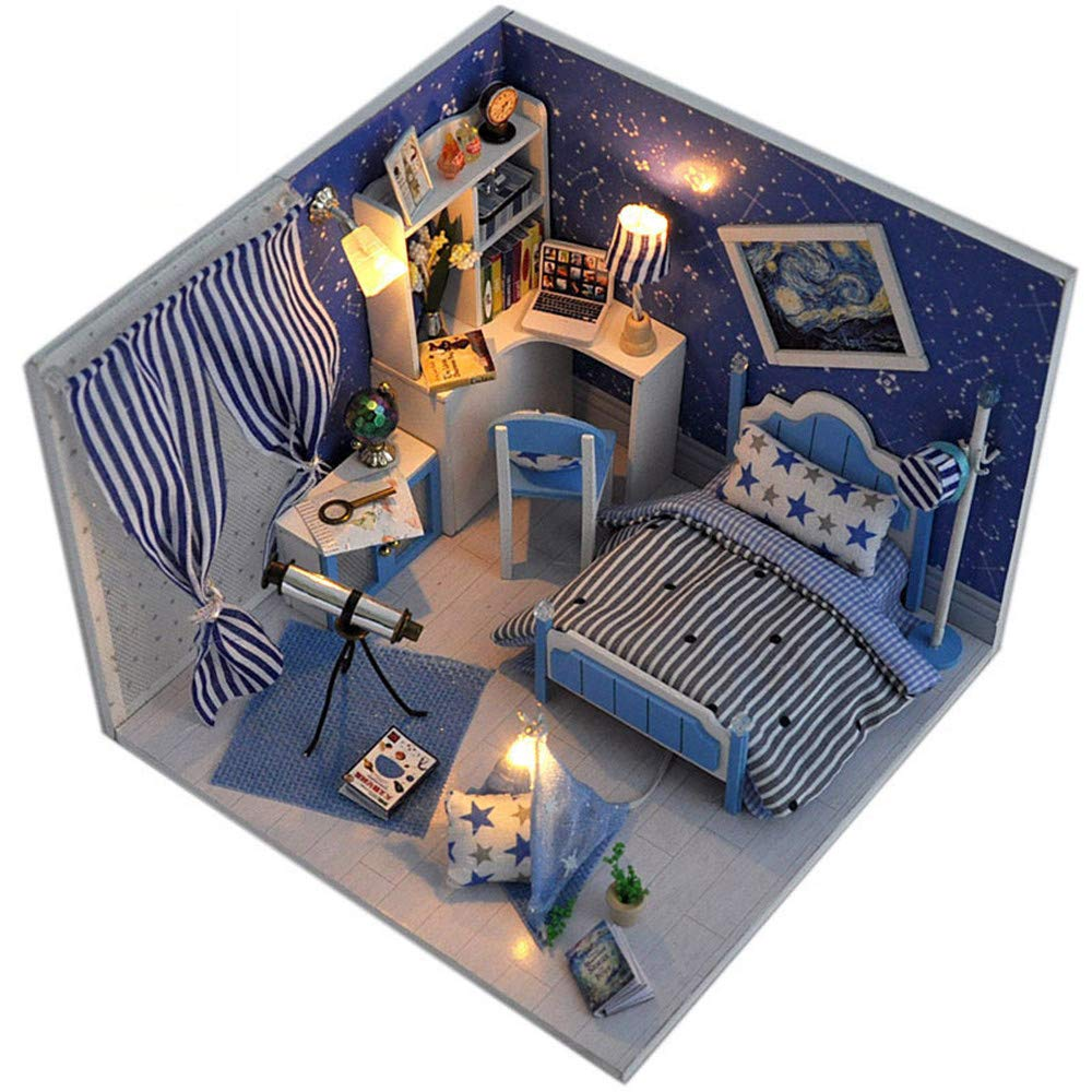 Miniaturhaus für Puppenhäuser, DIY Haus Traum Himmel Manuelle Montage Gebäude Modell Kreative Valentinstag, Geburtstagsgeschenk Spielzeug Für Kinder Hölzerne DIY Puppenhaus Mini Handmade Kit Für Mädch