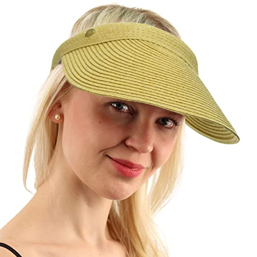 UPF UV Sun Protect Wide Braid Brim Clip Visor Open Back Beach Golf Cap Hat  Natural 001e44eae83