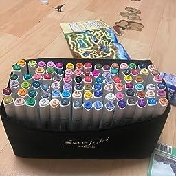 Amazon Sanjoki マーカーペン 水彩筆 イラスト マーカー 油性 セット 2種類のペン先 太字 細字 90色 油性 文房具 オフィス用品