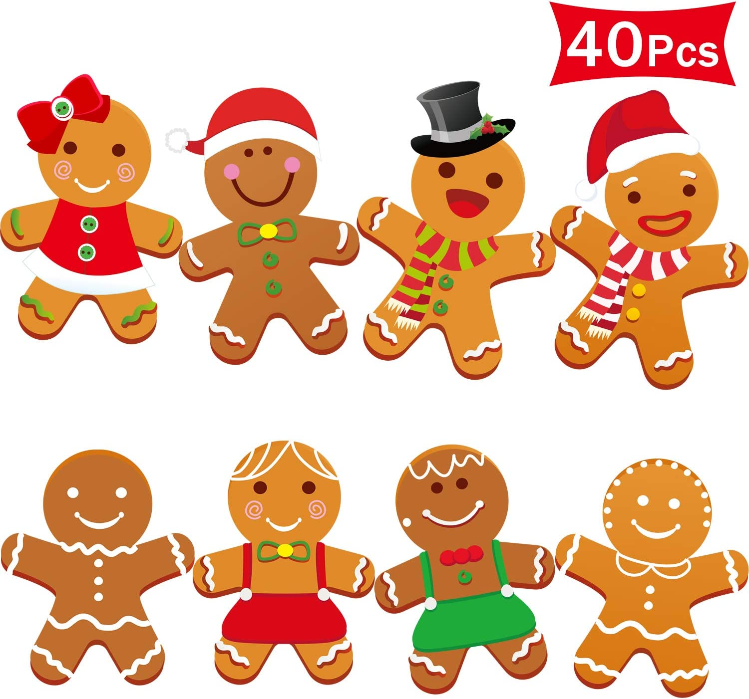 40 Pieces Winter Christmas Mini Gingerbread Cut-Outs Versatile Classroom Decoration Gingerbread Cut-Outs with Glue Point Dots for Winter Bulletin Board Classroom School Christmas Party, 5.9 x 5.9 Inch