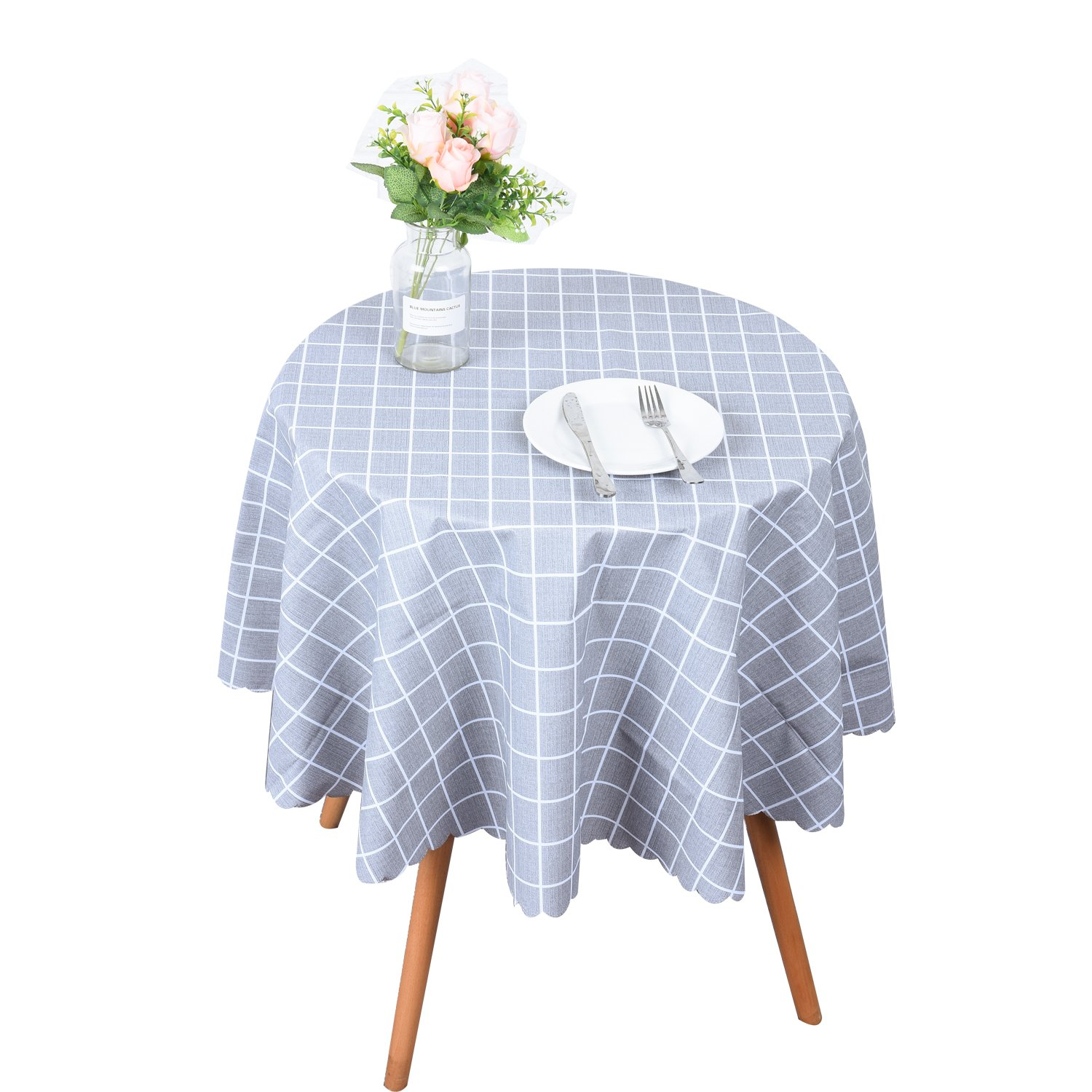 OUWIN 100% Waterproof Round Tablecloths Spill-Proof PVC Vinyl Table Protector Indoor Outdoor Picnic Table Cloths (54'' Round, Gray Checkered)