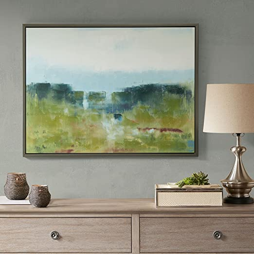 Amazon Com Madison Park Signature Morning Fields Wall Art Hand Embellished Painting Modern Abstract Home Decor Canvas Living Room Accent Blue Wall Art