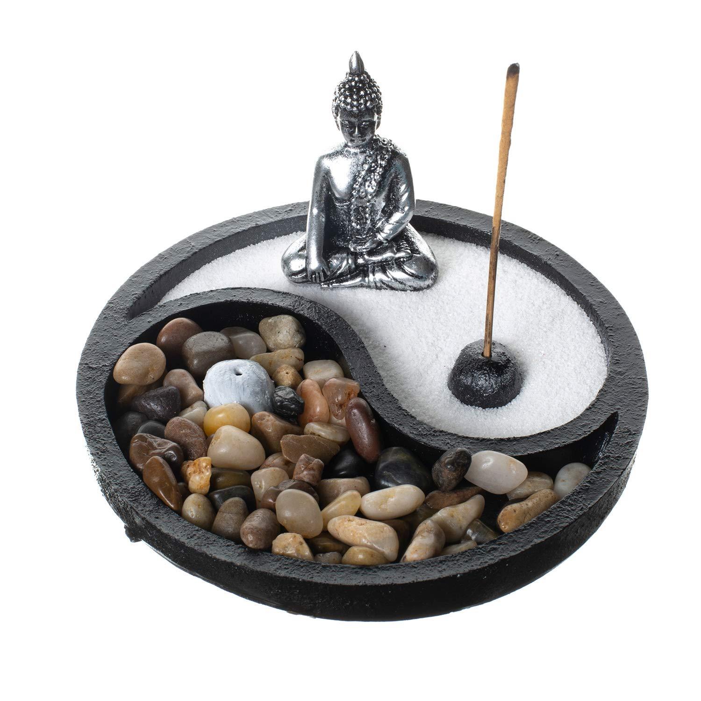 Zen Garden for Desk with Incense Holder, Yin Yang Sand and Rock by Tatum & Shea by Tatum & Shea