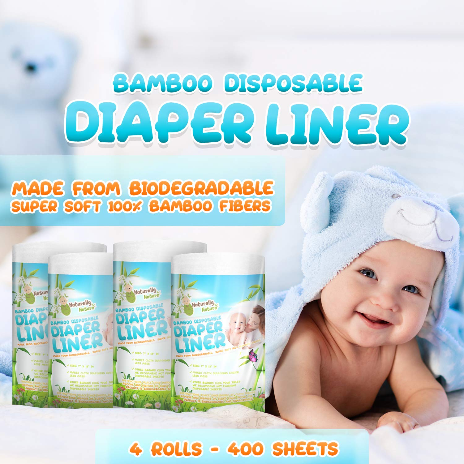 100 Sheets//Roll PRENKIN Disposable Nappy Natural Bamboo Disposable Bamboo Fiber Diaper Liners Infant Baby Eco-friendly Soft Cloth Nappy Insert