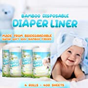 Naturally Natures Bamboo Disposable Diaper Liners (4PK) 400 Sheets Gentle and Soft, Chlorine and Dye-Free, Unscented, Biodegradable Inserts (Set of 4) 400 Liners