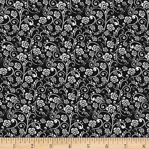 Santee Print Works The Red Basics Paisley Floral Black/White Fabric by The Yard