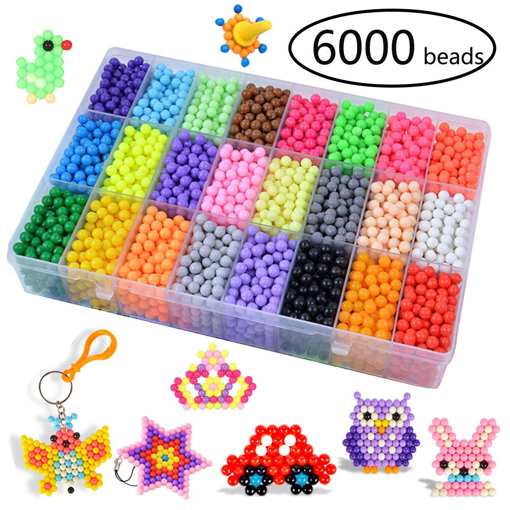 KACAGA Water Fuse Beads Kit 24 Colors 6000 Beads, Refill kit Compatible Beados Magic Water Sticky Beads Art Crafts Toys for Kids Beginners (6000+ Beads Complete Set) by KACAGA