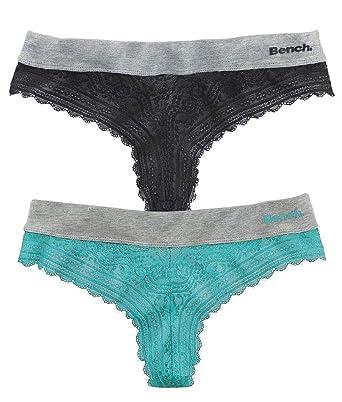 43ef400e4b2750 Bench. Damen Brasil Tanga Slip (2er Pack) (Mint + Schwarz, 32/34 (XS ...