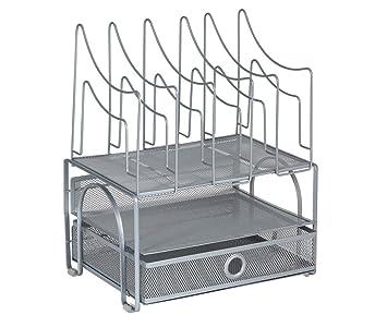 Organizador de escritorio de rejilla, bandeja de 3 niveles con 5 clasificadores, color plata: Amazon.es: Oficina y papelería