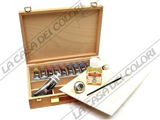 Pinturas al óleo 20 ML, Juego de 10 tubos de pintura al óleo, caja de madera, MAIMERI, 20 ML, varios paquetes: Amazon.es: Hogar