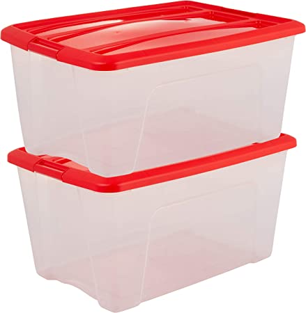 Iris Ohyama New Top Box NTB-45 edition X-Mas - lote de 2 cajas apilables de almacenamiento, Transparente/Roja, 45 L: Amazon.es: Hogar