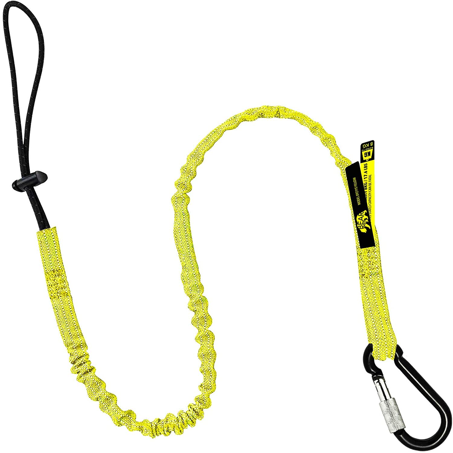 8 x Bungee Tether Tool Lanyard with Snap Hook to Loop 85-135mm 10Kg Rated