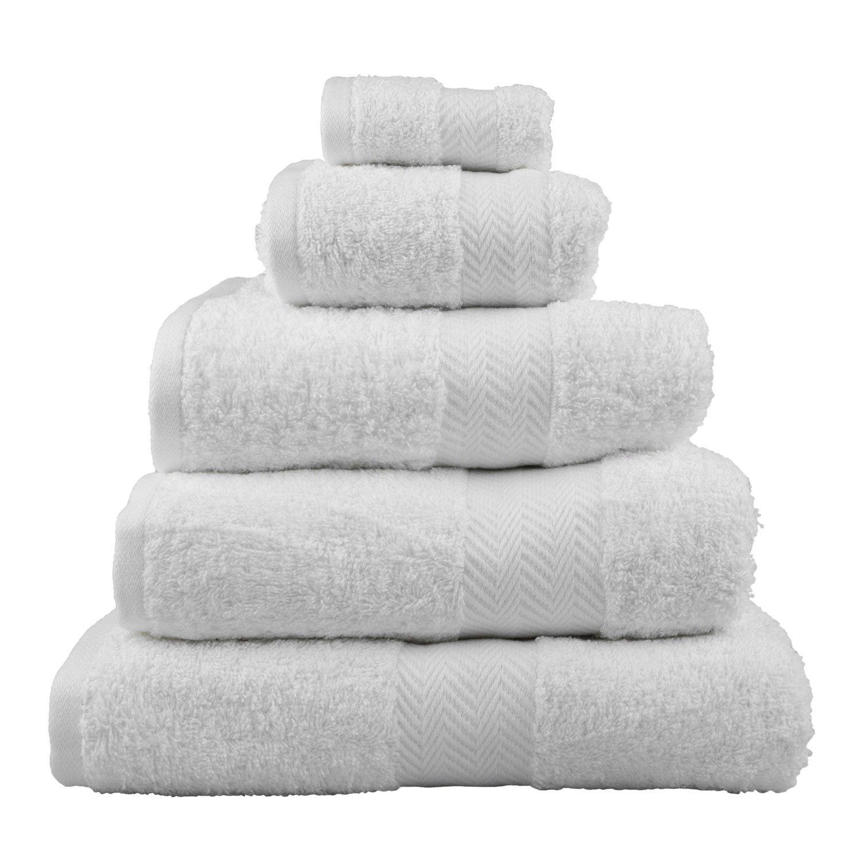 Homescapes –  Asciugamano da bagno di lusso morbido e assorbente in cotone egiziano bianco 500 g/m² , cotone egiziano, bianco, Essuie-mains 50 x 90 cm