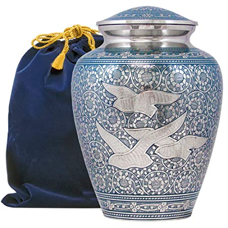 Wings of Love Elegant Adult Cremation Urn for Human Ashes – A Beautiful and Timeless Urn to Honor The One Your Love – Find Comfort Everytime You Look at This High Quality Urn – with Velvet Bag
